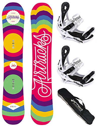 AIRTRACKS DAMEN SNOWBOARD SET / PINTO BOARD ZERO ROCKER + BINDUNG SAVAGE W + SB BAG / 144 150 156 / cm