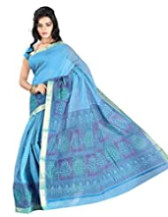 0b17565b96 Roopkala Silks & Sarees Women Cotton Silk With Blouse Piece Sarees (Ga-1122  _Blue