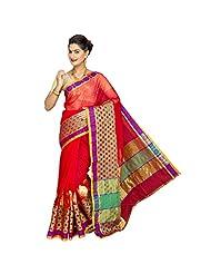 Korni Women Poly Cotton Banarasi Saree (Kr0313 _Red _Free Size)