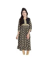 Black Gold Long Kurtis For Women Printed Anarkali Floral 3/4 Sleeves BCRMF-5030-V