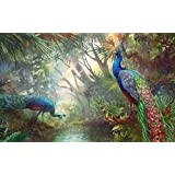 Digital Painting Peacock Birds In Indian Village Nice Painting Posters On Fine Art Paper 13x19