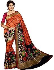 Yashoda Textile Orange Color Bhagalpuri Silk Saree With Designer Blouse