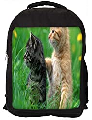 """Snoogg Pair Of Cats Casual Laptop Backpak Fits All 15 - 15.6"""" Inch Laptops"""