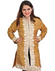 Exotic India Mustard-Gold Jacket From Kashmir With Ari-Embroidered Paisle - Gold