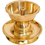 Exotic India Wick Puja Lamp - Brass Statue
