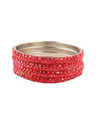 Newsantosh Colourful Bollywood Style Alloy Crystal Rhodium Plated Bangle Set (Pack Of 4)