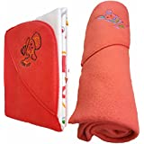 BRANDONN NEWBORN COMBO OF DOUBLE PLY REVERSIBLE HOODED AND FLEECE HOODED BABY BLANKETS(PACK OF 2 , RED)
