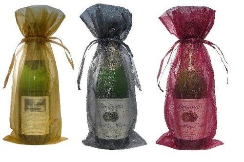 30 Organza Wine Bottle Bag Gold, Silver, Burgundy