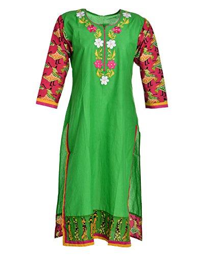 Global Women's Cotton Straight Kurta (GW53Green44015, Green, 44)