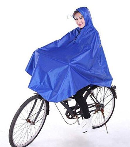 自転車 用 レイン コート ポンチョ 前カゴ 濡れない 透明 バイザー 男女兼用 フリーサイズ 防風 防寒 (01.つば型バイザー/ブルー)