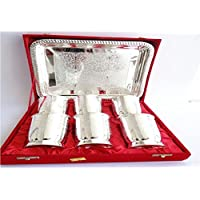 Giftshopify Silver Plated 6 Glass Serving Set (Serving Tray, 6 Glass)