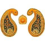 Six Senses Handicraft Wooden Rangoli Pattern With Diya (32 Cm X 23 Cm X 1 Cm)