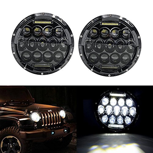 u-Box® Pair 0f 75W 7inch Round Black Led Headlight with DRL Angel Eyes Hi/lo Beam for Jeep Wrangler 2007-2016