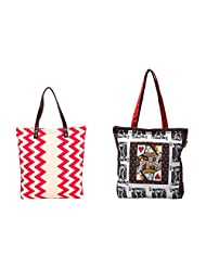 Pick Pocket Combo Of Ecru And Red Zig Zag Printed Canvas Tote Bag With Black And White Card Printed Canvas Tote...