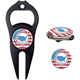 Hat Trick Openers 6-in-1 Golf Divot Tool Hat Clip Set With USA Logo Black