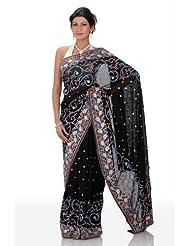 Chhabra555 Black Georgette Embroidery Saree - B00J4RNSWM