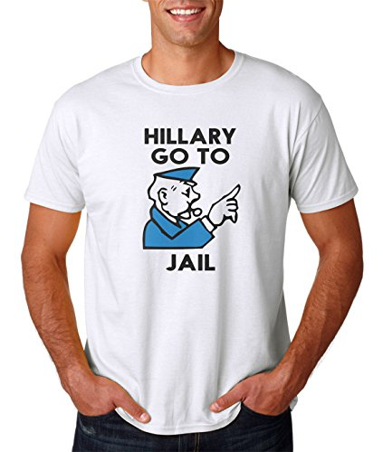 Trump and Clinton Halloween Costumes - Choose Edgy or Funny - AW Fashion's Hillary Clinton Go to Jail - Hillary For Prison Monopoly Parody Premium Men's T-Shirt (X-, White)