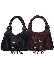 Arc HnH Women Fancy Ring Hand Bag Combo - Black + Maroon