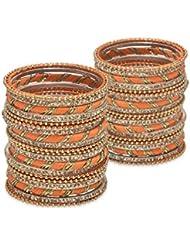 Bold Bangles: Kadha Set- Orange Lacquer Wedding Bangles For Women