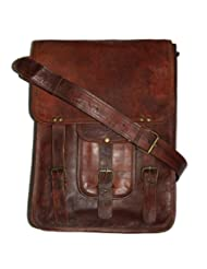 HLC-(Handmade Leather Craft) Real Genuine Leather Messenger Back Pack Traditionally Handmade Brown Bag