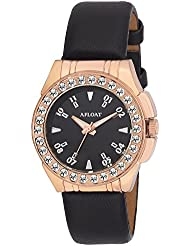 AFLOAT Analog Crystal Studded Black Dial Copper Case Black Leather Strap Wrist Watch For_Girls, Women