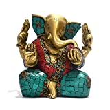 Lord Ganesh Idol Brass Sculpture Hindu God Ganesha Statue Dipawali Decor Gifts