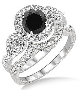 1.5 Carat Black Diamond Antique Halo Bridal Set Engagement Ring on 10k White Gold