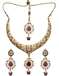 Exotic India Pink Polki Necklace Set With Mang Tika - Copper Alloy With Cut Glass