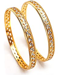 Bangles Silver Gold Plated Two Tone 2 Piece 2.6 Inch Hyderabad Real Look Jadau Cz Ad Hot Bangle 66363