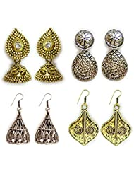 The Trendy Trendz Combo Pack Of 4 Cute Elegent Jhumki Sets | German Silver Dangle & Drop Oxidised Golden And Silver...