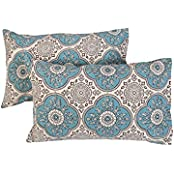 Indian Style Off White Cushion Covers Cotton Decor Ethnic Throw Pillows 27x18 Pillow Covers Floral Printed By...