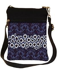 Snoogg White Circles Cross Body Tote Bag / Shoulder Sling Carry Bag