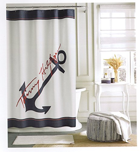 Tommy Hilfiger Cotton Shower Curtain Wide Stripes Fabric Red Navy Blue Anchor Nautical