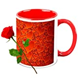 Love Gifts For Her - HomeSoGood My Heart Beat On Valentine's Day White Ceramic Coffee Mug With Red Rose - 325 Ml
