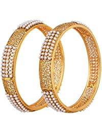 Shining Diva Gold Plated Traditional Jewellery Fancy Pearl Bangles For Women And Girls
