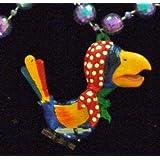 Bobble Head Parrot Beads Necklace New Orleans Mardi Gras Spring Break Cajun Carnival Festival