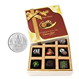 Chocholik Belgium Chocolates - 9pc Soft And Sweet Dark Chocolate Box With 5gm Pure Silver Coin - Diwali Gifts
