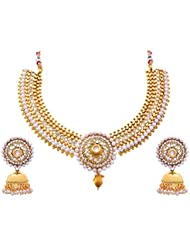JFL - Traditional And Ethnic One Gram Gold Plated Stone White Pearl Designer Necklace / Jewellery Set For Girls...