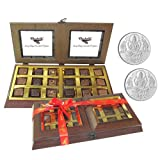 Chocholik - 18 PC Delightful Chocolate Box With 5gm X 2 Pure Silver Coins - Gifts For Diwali