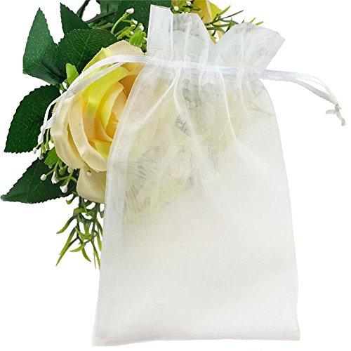 100 Pcs 4.3x6.3 Sheer Drawstring Organza Gift Bags