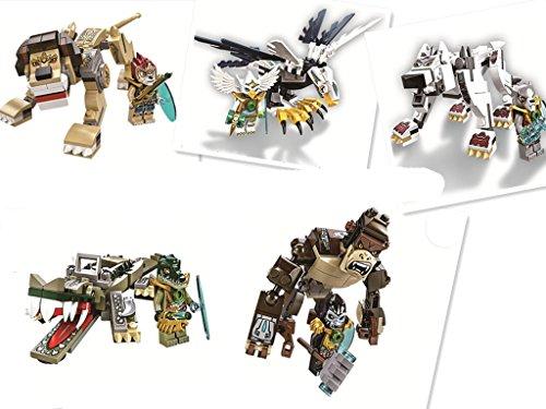 5 Sets New Legends of Chima Beast Crocodile 120PCS & Eagle 103PCS & Gorilla 105PCS & Lion 119PCS & Wolf 109PCS Eco-friendly Plastic No Box Sold By Zhang Chunxiong