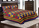 Jaipuri haat Kantha Work Embroidered Double Bed sheet with 2 Pillow Covers - King Size, Multi color