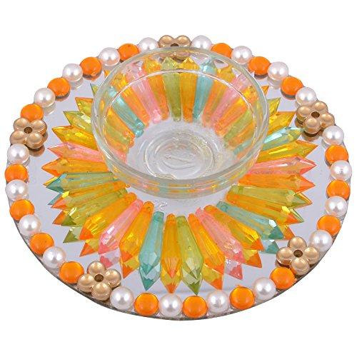Finger Prints Glass Tea Candle Holder-Multi-Color