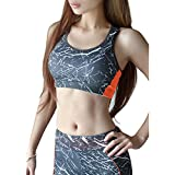 SUNVP Women's Padding Racerback Yoga Workout Sport Bra With Fixed Cup