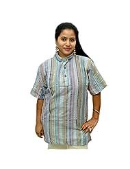 Odishabazaar Women's Blue Cotton Stripe Short Kurti - B00YNM9H0U