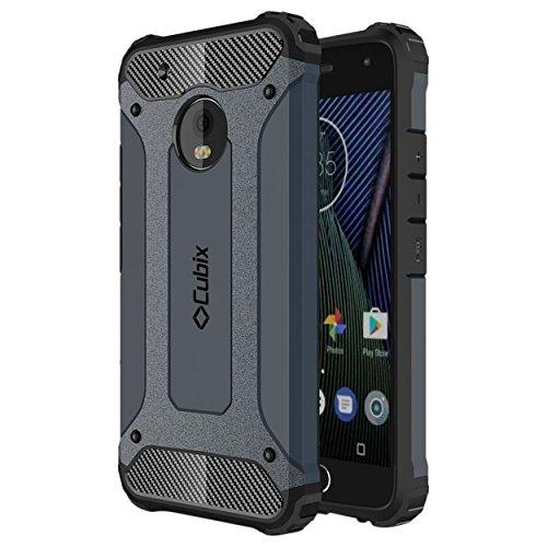 Cubix Defender Dual Layer Shockproof Bumper Back Case Cover For Motorola Moto G5 (Navy Blue)