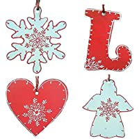 Purpledip Wooden Christmas Heart Hangings, Set Of 4 (4 Inches)