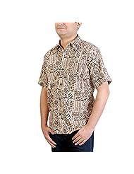Viniyog Men's Regular Fit Cotton Hand Block Printed Kalamkari Shirt (Multi-Coloured) - B00NHGOJ88