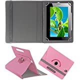 Acm Rotating 360° Leather Flip Case For Datawind Ubislate 3g7 Plus Tablet Cover Stand Light Pink