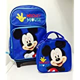 """Disney Mickey Mouse Rolling Backpack With Detachable Wheeled Trolley- 16"""" Large Blue & Disney Mickey"""